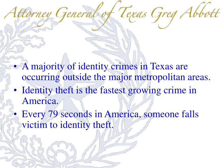 A majority of identity crimes in Texas are occurring outside the major metropolitan areas.