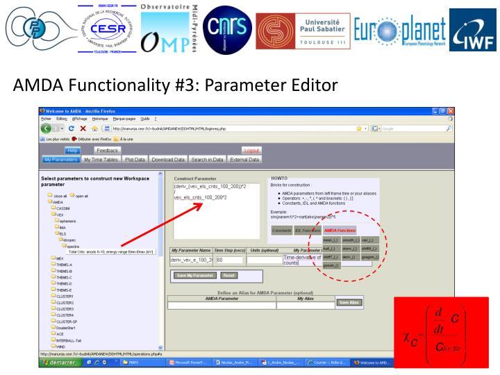 AMDA Functionality #3: Parameter Editor
