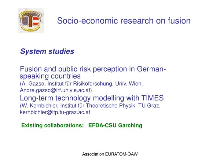Socio-economic research on fusion