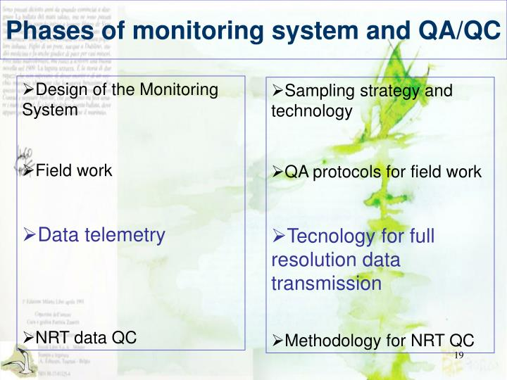 Phases of monitoring system and QA/QC