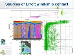 sources of error wind ship contact
