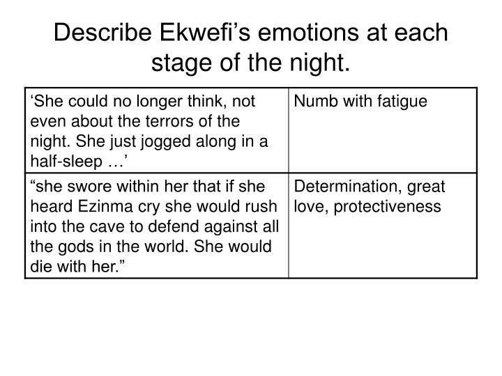 Describe Ekwefi's emotions at each stage of the night.