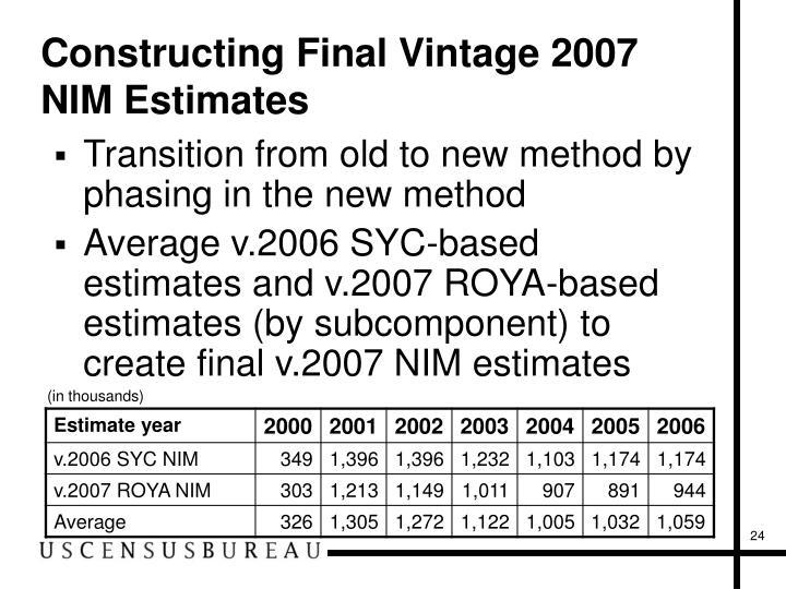 Constructing Final Vintage 2007 NIM Estimates