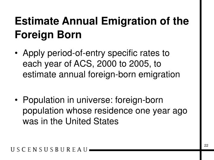 Estimate Annual Emigration of the Foreign Born