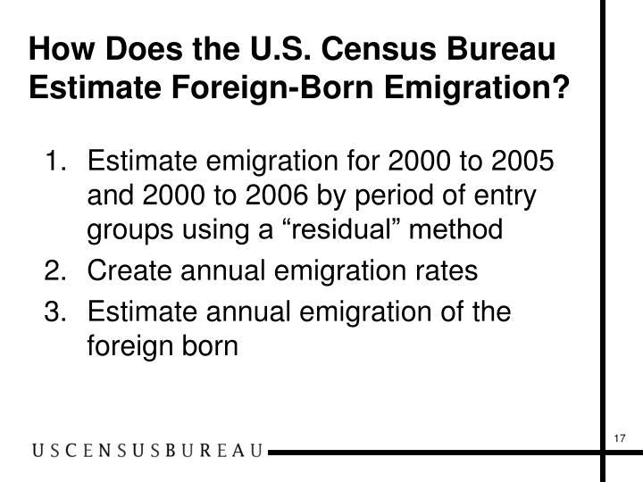 How Does the U.S. Census Bureau Estimate Foreign-Born Emigration?