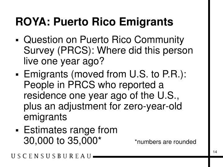 ROYA: Puerto Rico Emigrants
