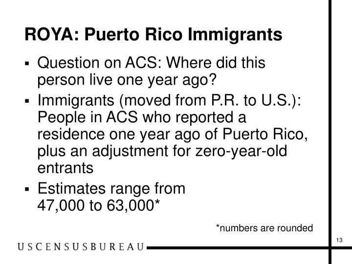 ROYA: Puerto Rico Immigrants