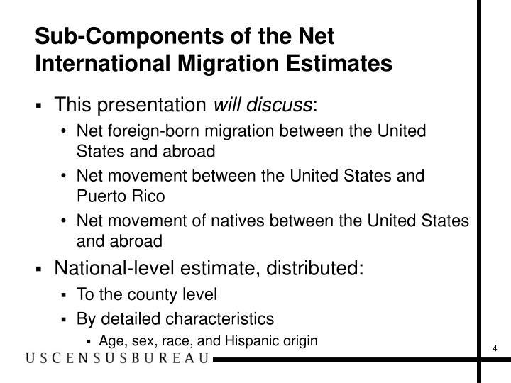 Sub-Components of the Net International Migration Estimates