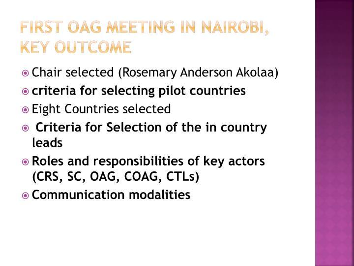 First OAG meeting in Nairobi, key outcome