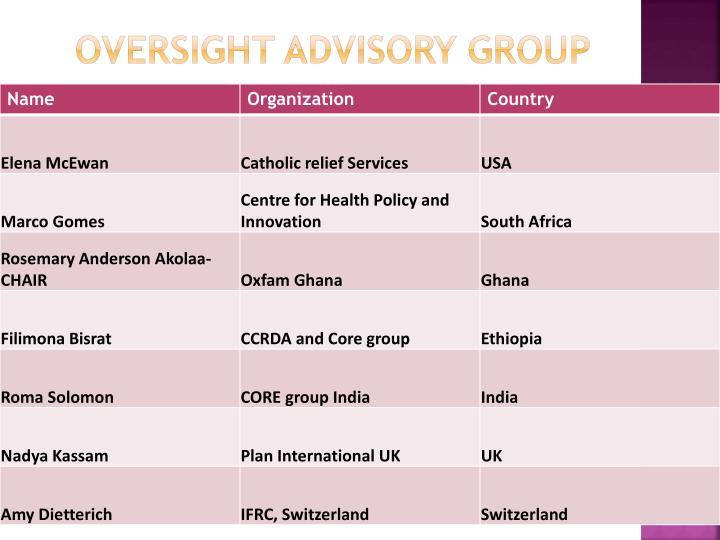 Oversight Advisory Group