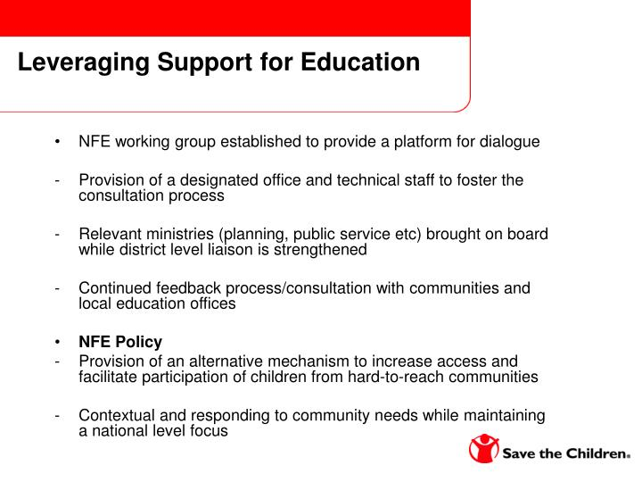 Leveraging Support for Education