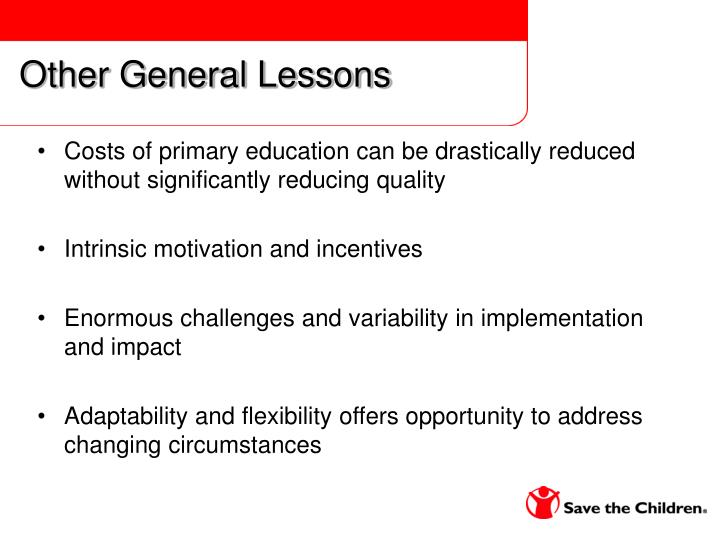 Other General Lessons