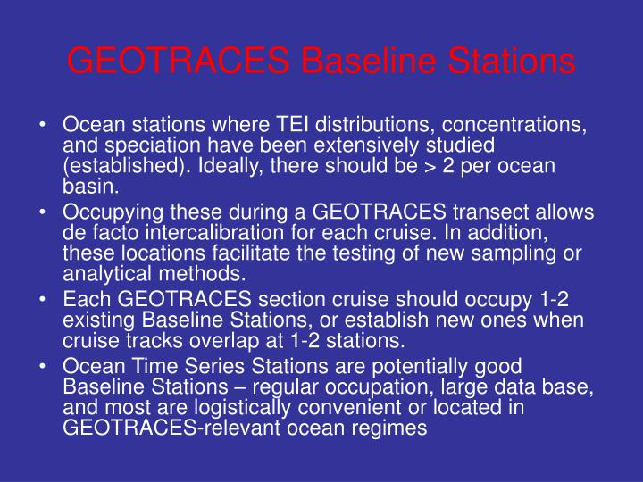 GEOTRACES Baseline Stations