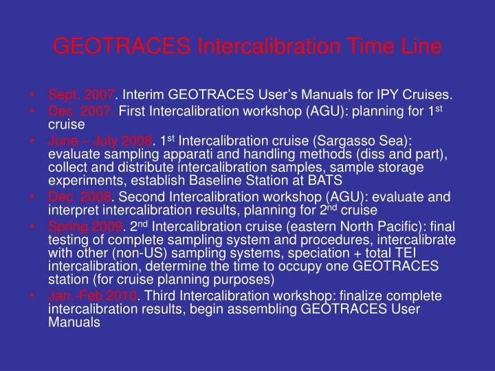 GEOTRACES Intercalibration Time Line