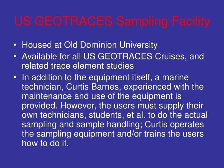 US GEOTRACES Sampling Facility