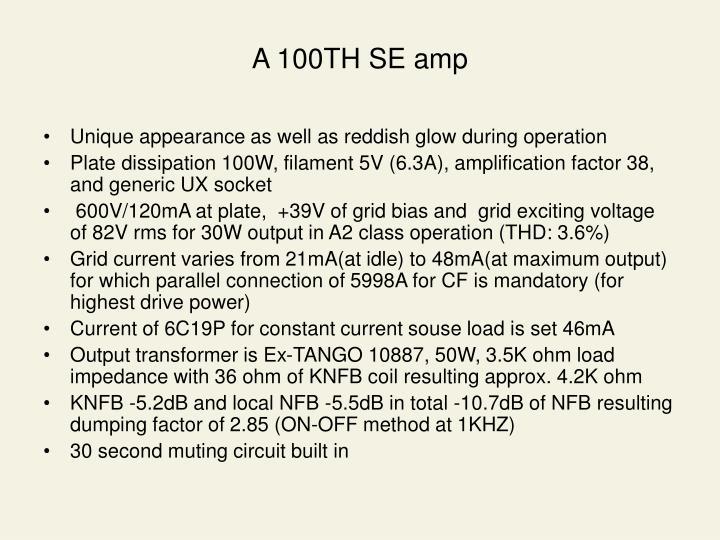 A 100TH SE amp
