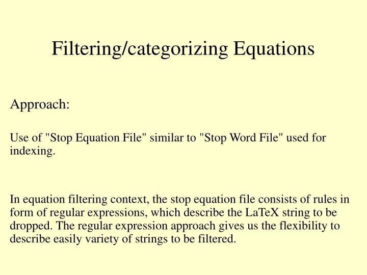 Filtering/categorizing Equations