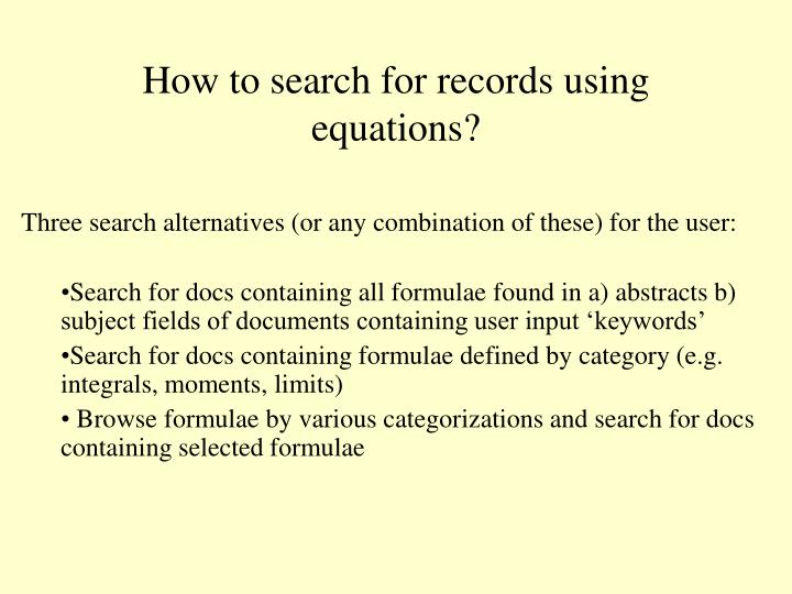 How to search for records using equations?