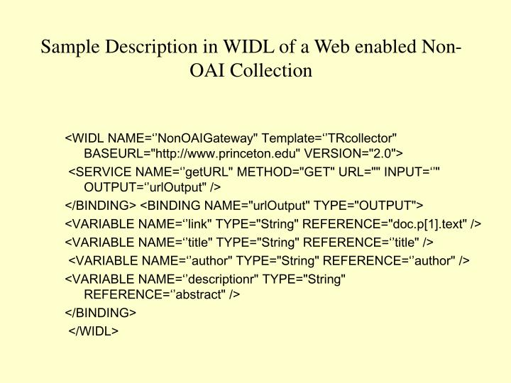 Sample Description in WIDL of a Web enabled Non-OAI Collection