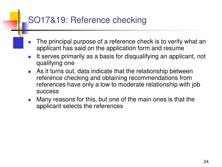 SO17&19: Reference checking