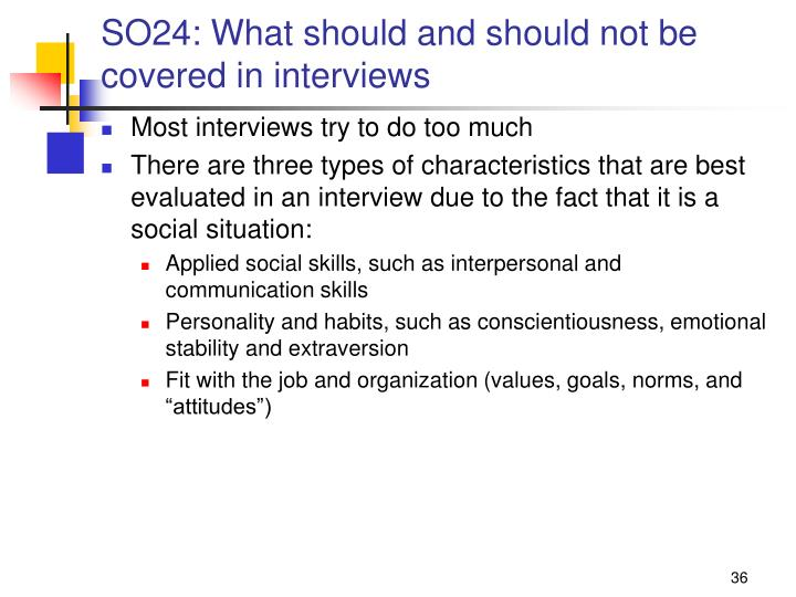 SO24: What should and should not be covered in interviews