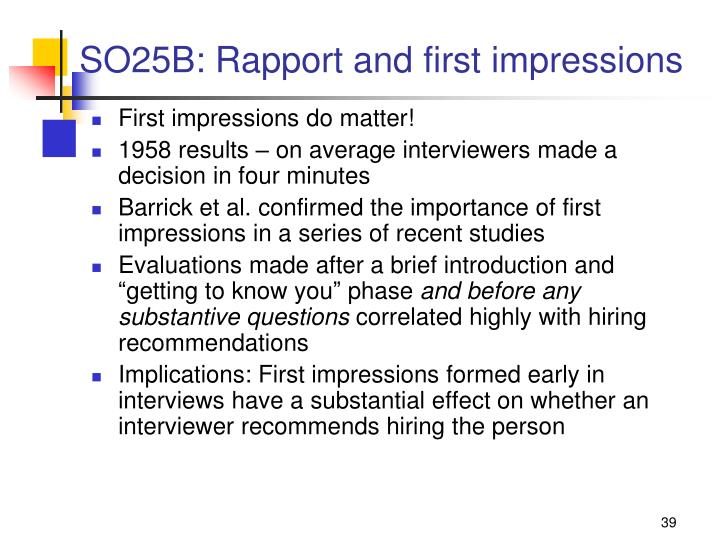 SO25B: Rapport and first impressions