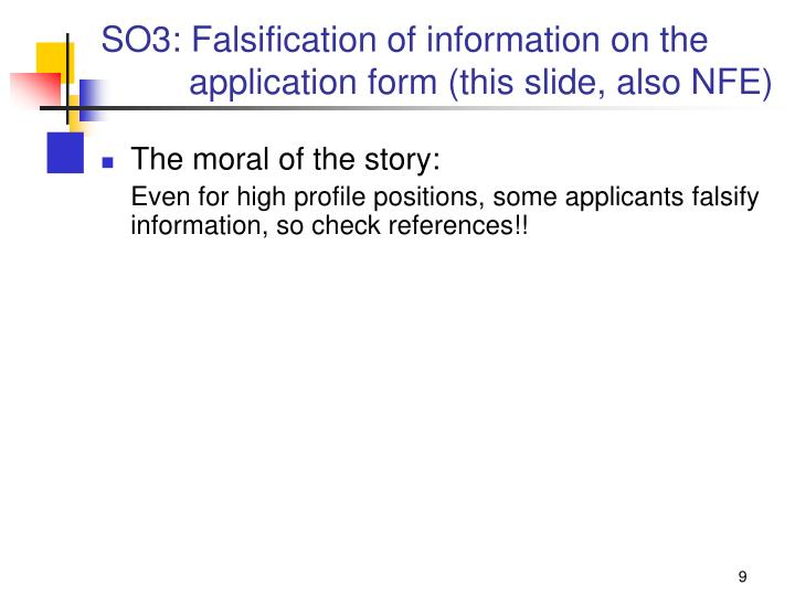 SO3: Falsification of information on the