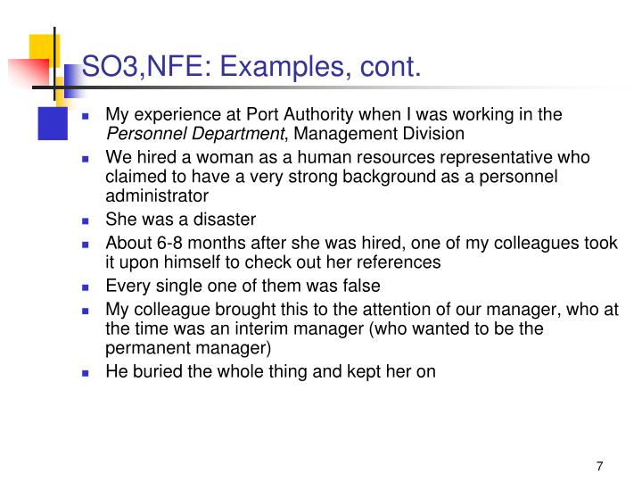 SO3,NFE: Examples, cont.