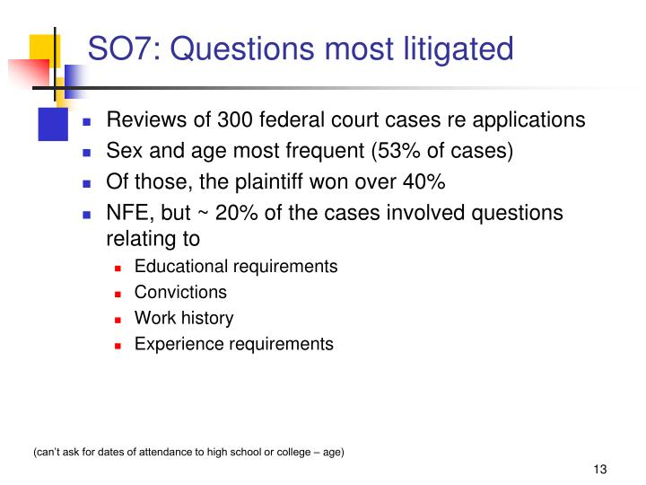 SO7: Questions most litigated