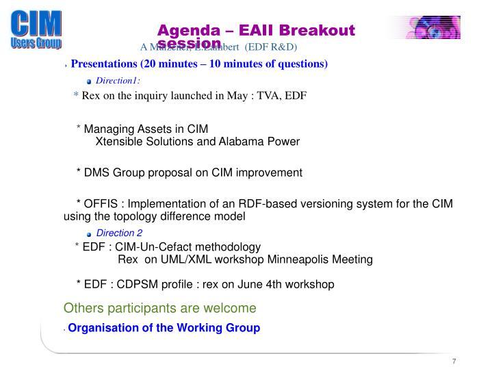 Agenda – EAII Breakout session