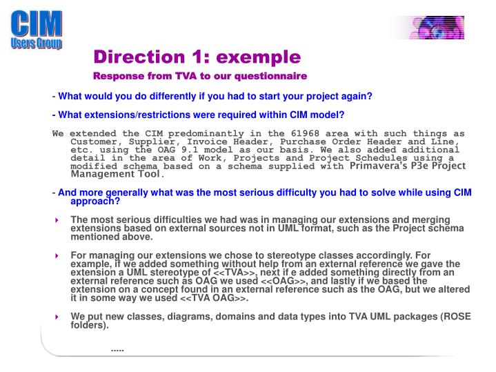 Direction 1: exemple