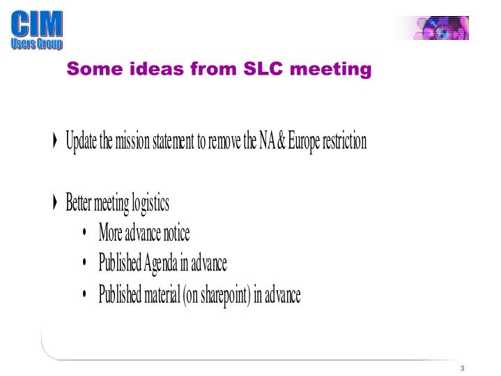 Some ideas from SLC meeting