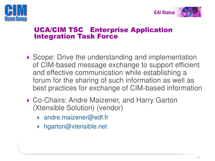 UCA/CIM TSC   Enterprise Application Integration Task Force