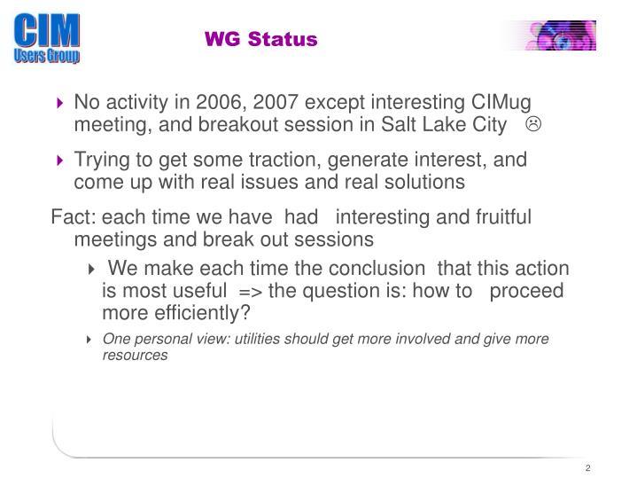 WG Status