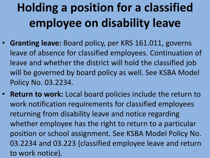Holding a position for a classified employee on disability leave