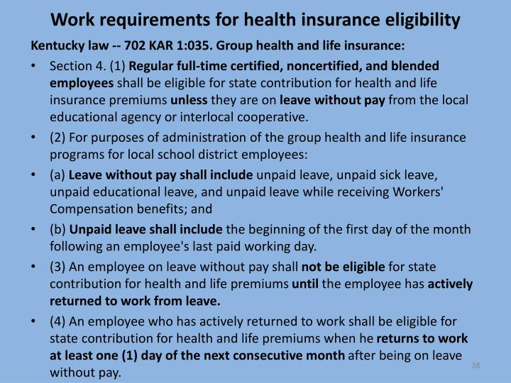 Work requirements for health insurance eligibility