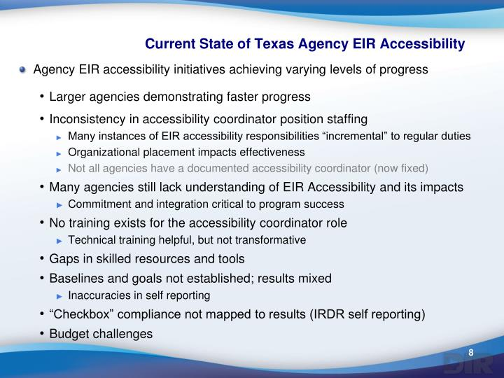 Current State of Texas Agency EIR Accessibility