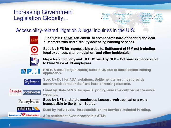 Increasing Government Legislation Globally…