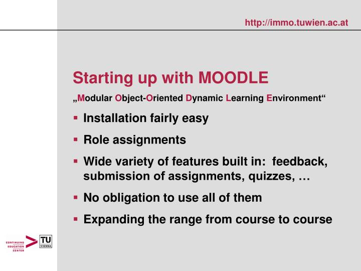 Starting up with MOODLE