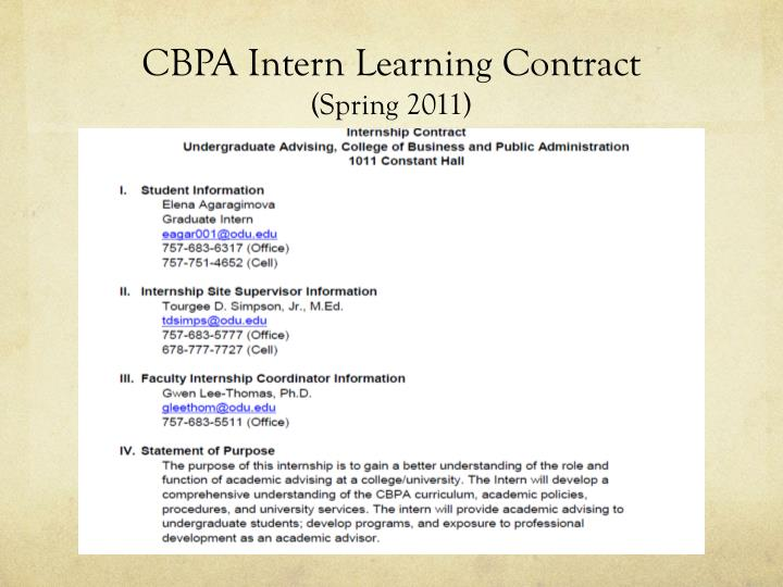 CBPA Intern Learning Contract