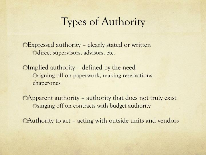 Types of Authority