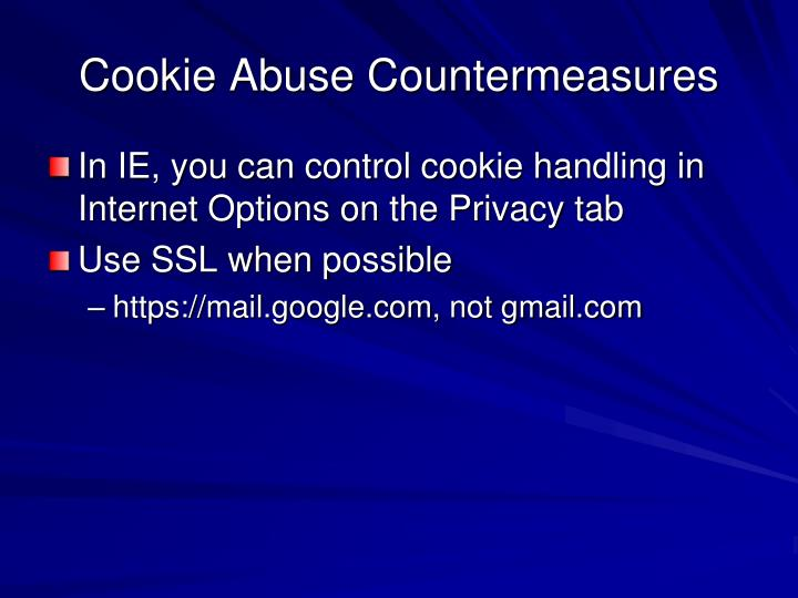 Cookie Abuse Countermeasures