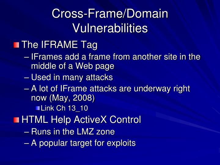 Cross-Frame/Domain Vulnerabilities
