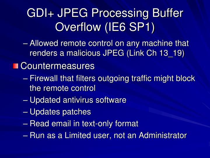 GDI+ JPEG Processing Buffer Overflow (IE6 SP1)
