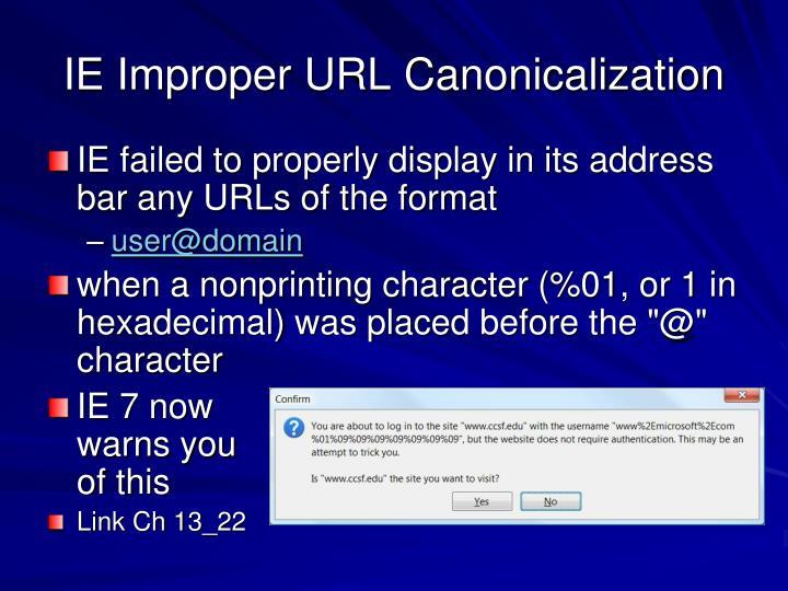 IE Improper URL Canonicalization