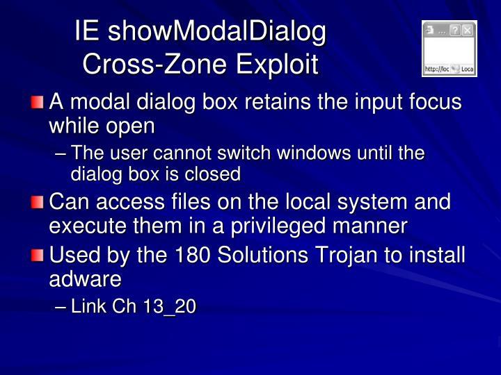IE showModalDialog Cross-Zone Exploit
