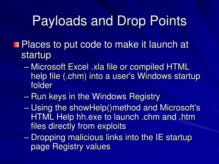 Payloads and Drop Points