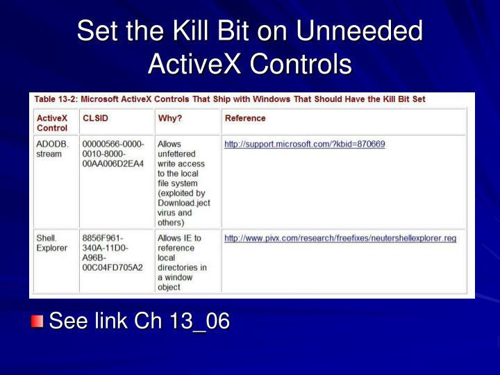 Set the Kill Bit on Unneeded ActiveX Controls