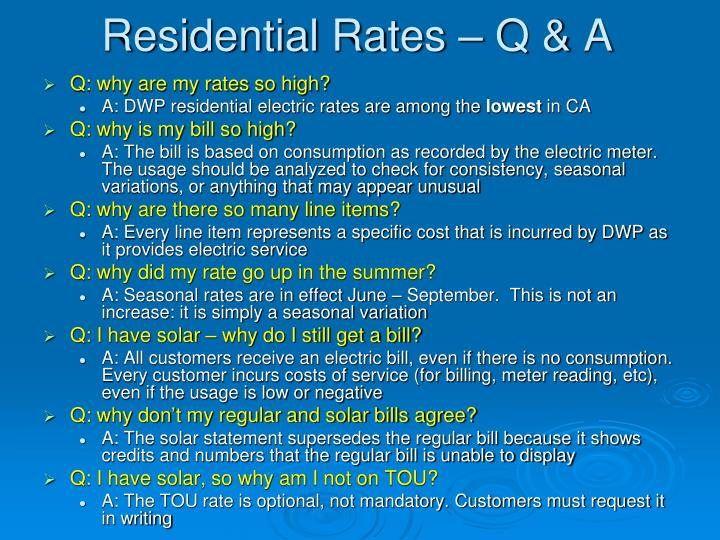 Residential Rates – Q & A