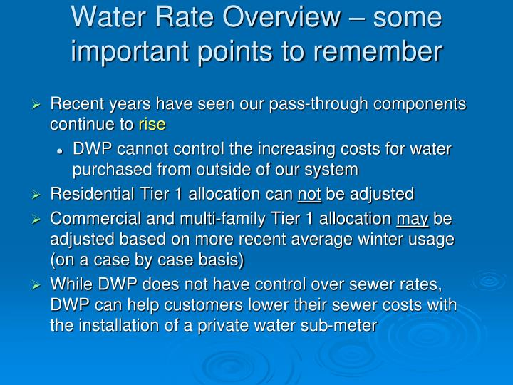 Water Rate Overview – some important points to remember